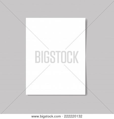 White paper isolated with soft shadow on white background. Vector illustration.