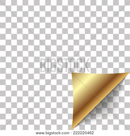 Paper corner peel. Blank sheet of folded sticky paper note. Vector illustration of sticker peel element for advertising message on transparent background