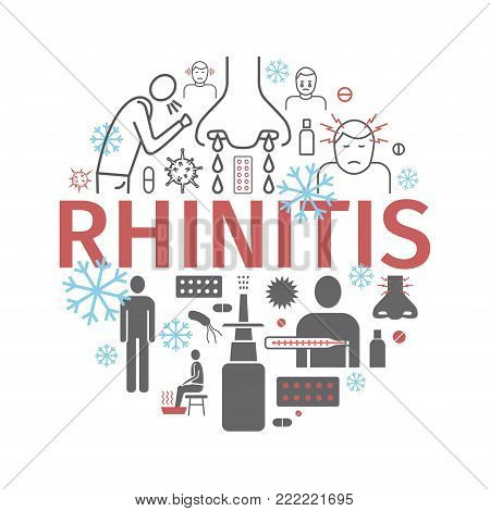 Rhinitis. Symptoms, Treatment. Line icons set. Vector signs for web graphics