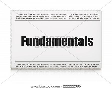 Science concept: newspaper headline Fundamentals on White background, 3D rendering