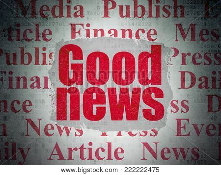 News concept: Painted red text Good News on Digital Data Paper background with   Tag Cloud
