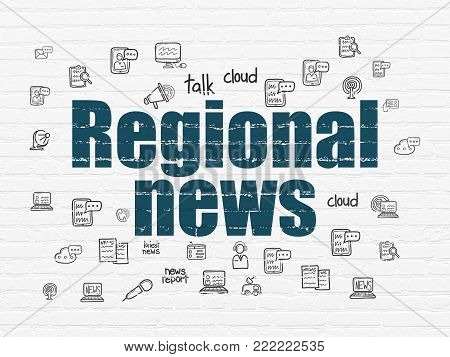 News concept: Painted blue text Regional News on White Brick wall background with  Hand Drawn News Icons