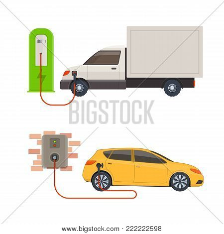 Electric-car charging stations. Electric vehicles charged on a charging station. Vector illustration