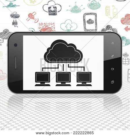 Cloud networking concept: Smartphone with  black Cloud Network icon on display,  Hand Drawn Cloud Technology Icons background, 3D rendering