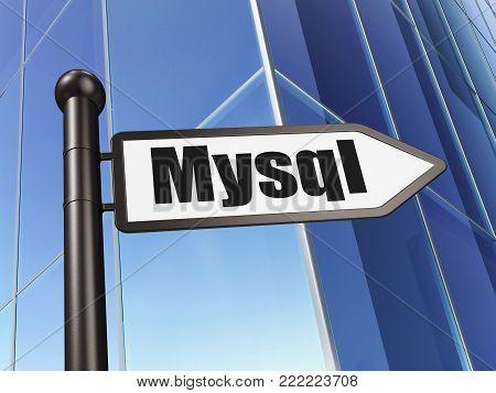 Database concept: sign MySQL on Building background, 3D rendering