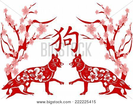 isolated red chinese dog year on white background