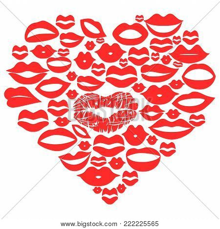 isolated red lips set in heart,vector on white background