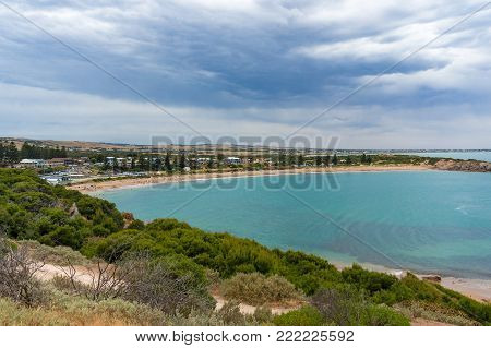 Seascape landscape of tropical beach and coastline. Horseshoe Bay, Port Elliot, South Australia, Australia