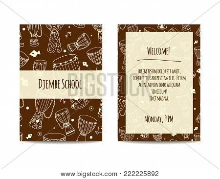 African drums banner with zulu ornament. Djembe pattern. Sketchy flyer design decorated with african ethnic instruments. Hand drawn doodles. Design set for percussion school, drum classes or jam. poster