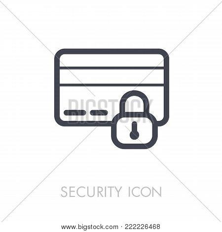 Secured Credit Card icon. Security sign. Graph symbol for your web site design, logo, app, UI. Vector illustration, EPS10.