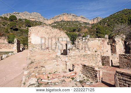 cells and large cloister, Escaladei, Priorat, Tarragona province, Catalonia, Spain