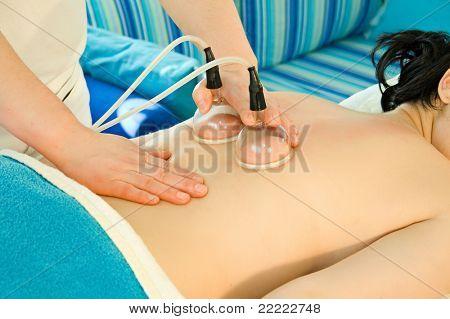 beauty-salon serie. Woman gets a massage.