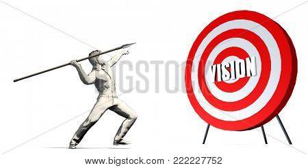 Aiming For Vision with Bullseye Target on White 3D Render
