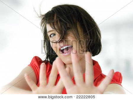 young woman with red t-shirt