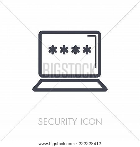 Laptop with password notification and lock icon vector illustration isolated on white, personal access, user authorization, login form, internet protection. Security sign