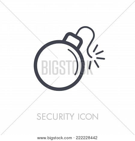 Bomb with lit fuse icon. Security sign. Graph symbol for your web site design, logo, app, UI. Vector illustration, EPS10.