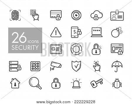 Security outline web icon set. Graph symbol for your web site design, logo, app, UI. Vector illustration, EPS10.