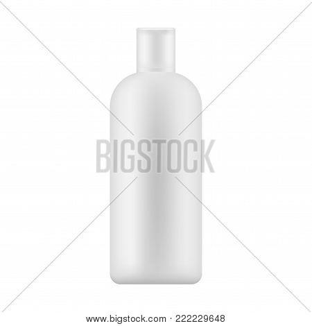 Mock up of white plastic bottle with cap for body lotion, shampoo, milk for skin care. Vector illustration.