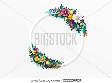 Flower round frame, isolated on white background. Floral colorful branches with buds. Template blooming flowers for wedding invitations and greeting card design.
