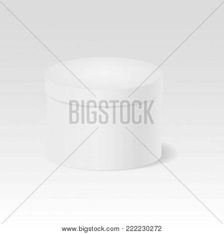 Closed gift box. White round closed box. Package. 3D. Cylinder. Vector illustration