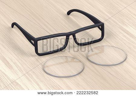 Eyeglasses frame and uncut lens on wood background, 3D illustration