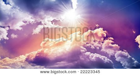sky with colorful dramatic clouds