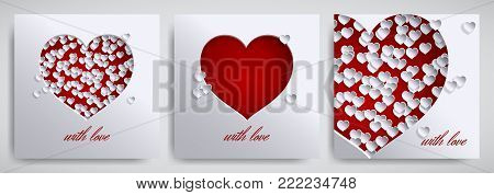Valentine's day, mother's day design set. Greeting card, banner collection. Cutted paper hearts on white satin background, text with love, paper cut out art style. Vector illustration, layers isolated