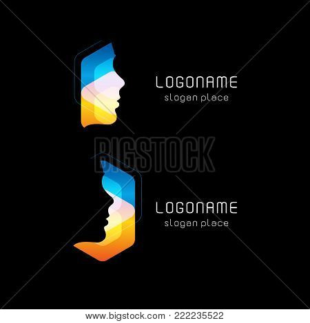 Abstract facial mask, vector logo. Hacker face hacking Internet database. Personal computer protection against hacking, new technology. Anonymous symbol