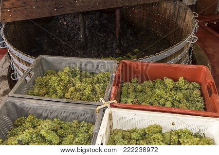 Dizy, France - September 10, 2017: Old wooden wine press (pressoir) with crates of Chardonnay grapes and Pinot Noir grapes at Champagne House Regent in Dizy, France