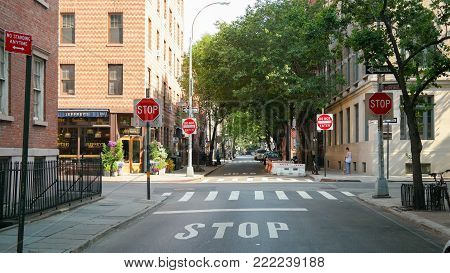 New York City, NY, USA 05.29.2018 intersection at Stonewall Place, Christopher Street in Greenwich Village, Manhattan