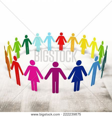 Paper people color red nobody illustration copy