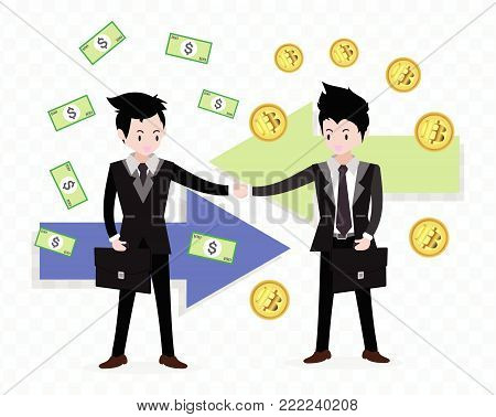 Bitcoin concept Payment and trade .Businessmen shake hands .business concept growth, effort and going beyond,isolate background Vector illustration.Cartoon style.