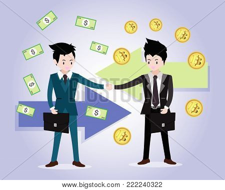 Bitcoin concept Payment and trade .Businessmen shake hands .business concept growth, effort and going beyond,cool background Vector illustration.Cartoon style. poster