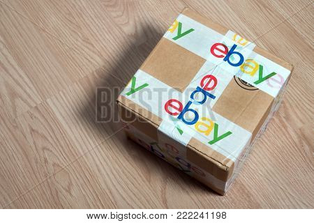 Bangkok, Thailand 16, 2018: Brown Paper Box Ebay Packaging Delivered With Security Scotch Tape To Sa