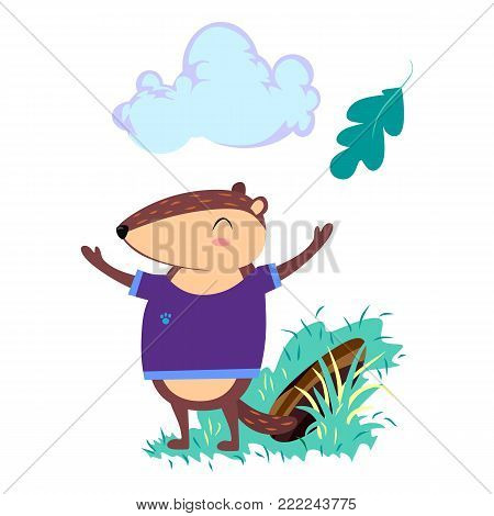 Happy Groundhog Day design with cute marmot stand on green grass, prediction of weather, animal climbed out of ground burrows after wintering, vector illustration.