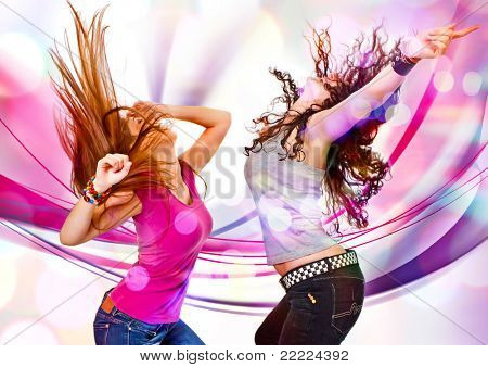 two young girls dancing in discolight