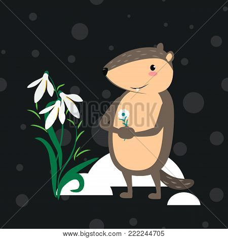 Happy Groundhog Day design with cute marmot marmots in black cylinder on head and bow tie, prediction of weather, animal climbed out of ground burrows, hog gipernation vector illustration