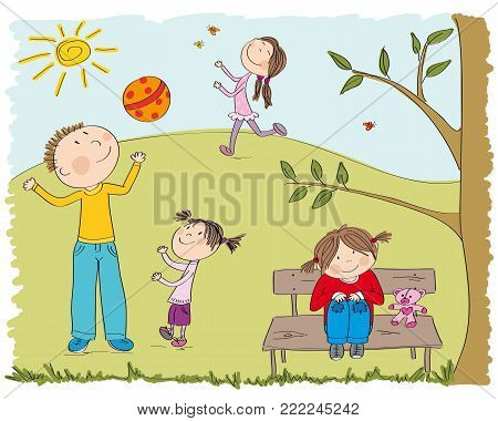 Happy children playing outside in the park, daddy and his little daughter playing with ball, happy girl chasing butterflies and one girl is sitting on the bench under the tree - original hand drawn illustration