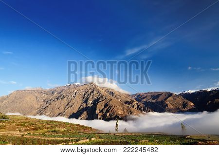 Peru, Colca canyon. the secend wolds deepest canyon at 3191m. View on the canyon from the route to the geyser near Pinchollo village