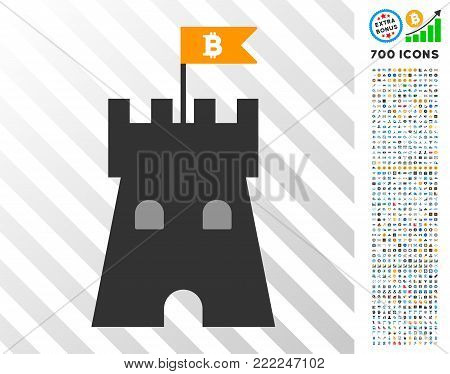 Bitcoin Bulwark Tower pictograph with 700 bonus bitcoin mining and blockchain pictograms. Vector illustration style is flat iconic symbols design for crypto currency software.