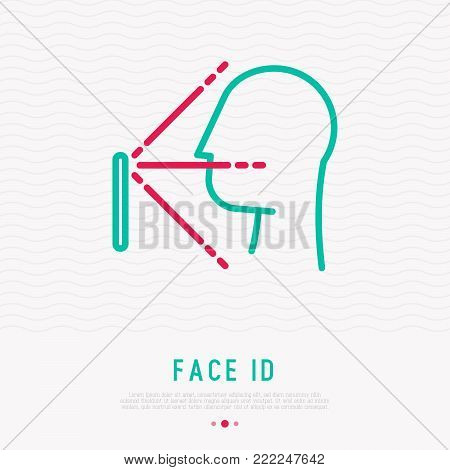 Face ID thin line icon: face recognition, scanning, mobile authentication. Modern vector illustration.