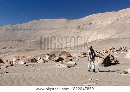 Peru, Tourist on the desert watching Toro Muerto Petroglyphs