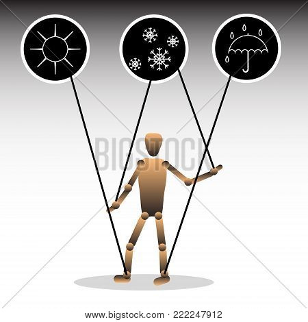 The image of a puppet with icons, symbolizing meteozavisimost. Vector illustration.