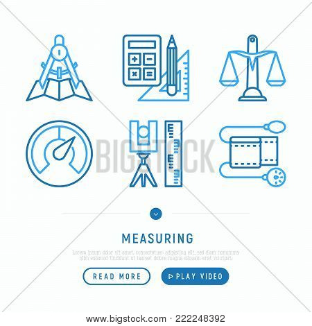 Measuring thin line icons set: weight scales, speedometer, calipers, pulse oximeter, divider. Modern vector illustration, web page template.