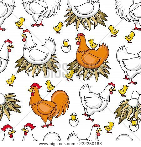 vector flat brown, white hen chicken sitting in hay nest, yellow chicks around seamless pattern Isolated illustration on a white background. Farm poultry chicken