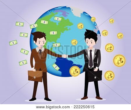 Bitcoin concept Payment and trade .Businessmen shake hands .business concept growth, effort and going beyond,cool background Vector illustration.Cartoon style.