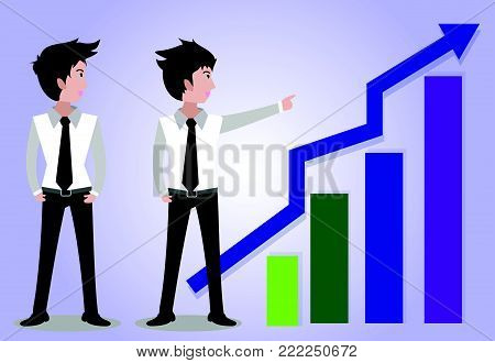 Team work,Business man characters.business concept growth, effort and going beyond,Vector illustration.Cartoon style.
