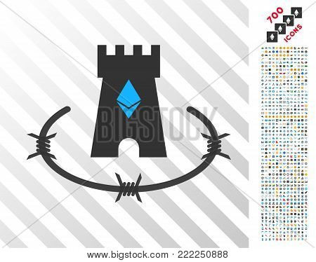 Ethereum Bulwark icon with 700 bonus bitcoin mining and blockchain pictograms. Vector illustration style is flat iconic symbols design for crypto-currency software.
