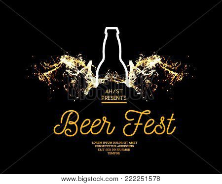 Beer fest. Splash of beer with bubbles on a black background. Vector illustration with a silhouette of a bottle and a splash in the form of wings