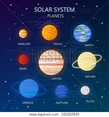 Set of Planets of Solar System. Vector Illustration. Flat Style. Graphic Design for Education Classes, Planetarium, Flyers, Banners, Cards.